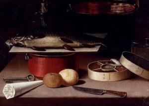 """Hans Georg Meyer, """"Vis op een plank, koperen potten, citroenen,, sleutel, doos met specerijen en andere objecten op een tafel"""", 1667, 56.5 x 75.7 cm."""
