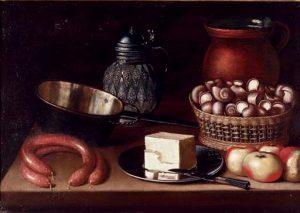 """Hans Georg Meyer, """"Kaas op zilveren drager, appels, worsten, slakken in een mand, koperen pot, een glas-zilveren karaf en aardenwerken kan op een tafelblad, 1656, 53.9 x 70.7 cm."""