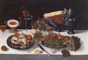"""Hans Georg Meyer, """"Stilleven met fruit, stenen kan, glazen en halve kaas. Inscriptie op achterzijde 'Haarlem fecit 1621'"""", olie op canvas, 88 x 128 cm, ingelijst, geschilderd in Bazel tussen 1656 en 1687, waarde 20.000 tot 30.000 euro."""